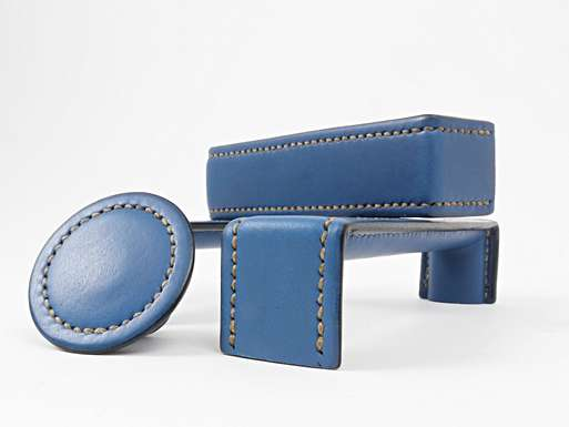 AQUA BLUE PLUS NATURAL STITCHING SAVILLE HANDLES